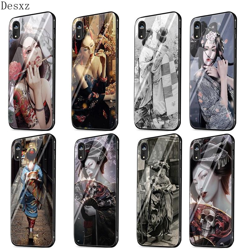 Desxz de funda para teléfono móvil para iPhone 5 5S SE 6 6 s 7 8 Plus XR X XS X Max funda para chica Geisha japonesa