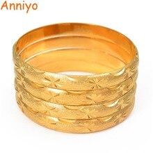 Anniyo 4 pièces/lot, Bracelet couleur or 24k pour femmes filles, arabe Dubai GP Bracelet bijoux éthiopien afrique cadeaux de mariage #193306