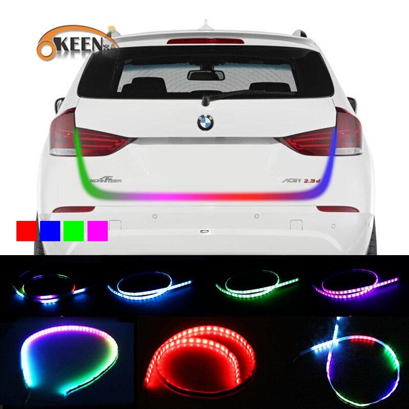 Okeen estilo do carro led tronco tira luz rgb undercarriage flutuante led dinâmico sinal de volta streamer luzes do compartimento de bagagem