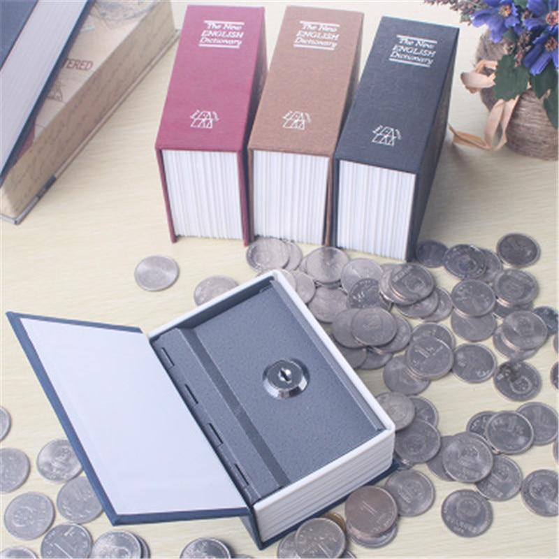 Diccionario Mini caja fuerte libro dinero oculto secreto seguridad seguro bloqueo efectivo dinero estuche de almacenamiento de monedas joyería llavero para regalo de niño