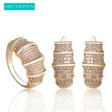 Mechosen Nieuwe Mode Eenvoudige Elegante Ol Stijl Oorbellen Ring Sets Zirconia Koper Goud Set Brincos Aneis Mujer Sieraden Sets