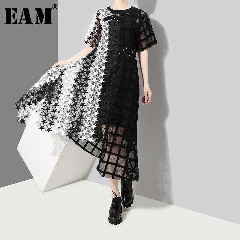 Женское платье с вырезом EAM, черное платье с коротким рукавом, с круглым вырезом, с вырезом, JL939, весна-лето 2020