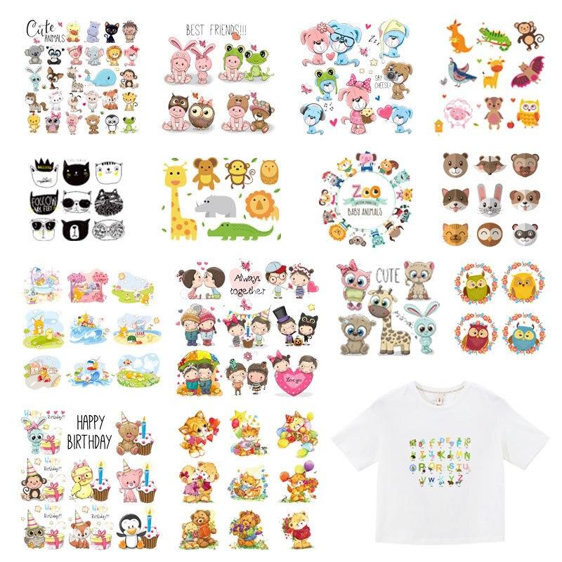 Dibujos Animados lindo Animal parche conjunto Transferencia de Calor pegatinas rayas para ropa niños camiseta unicornio gato chica búho parches para ropa