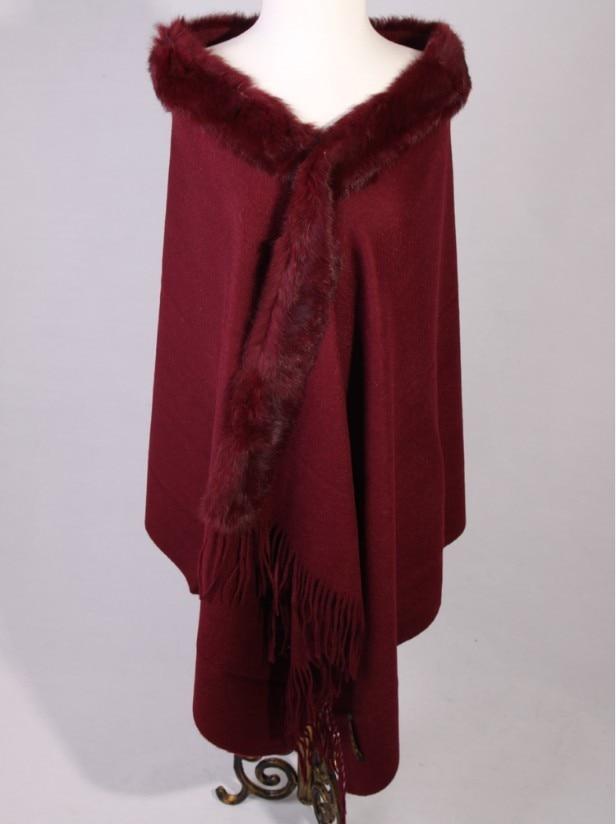 Free Shipping Burgundy Winter Fashion Ladies' 100% Wool Cashmere Rabbit Fur Shawl Scarf Thick Warm Wrap SY-6