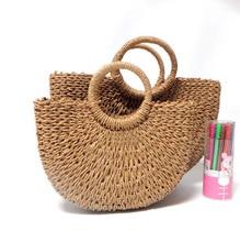 Retro Women Vacation Straw Bag Straw Bags For Women Round wicker bag Beach Handbag Ladies Fashion Drawstring Bag