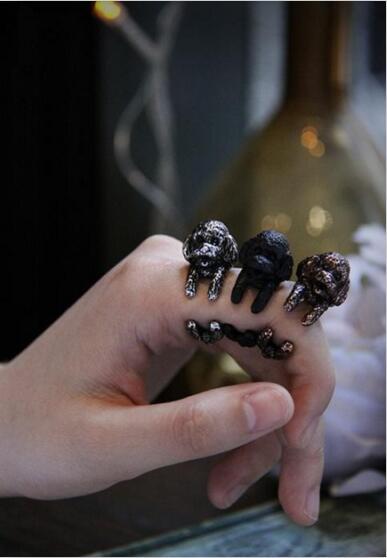 Gota shipping-3D anillo de Poodle Retro