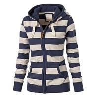 Куртка женская флисовая на молнии, модный худи в полоску, свитшот, теплая куртка, Осень-зима