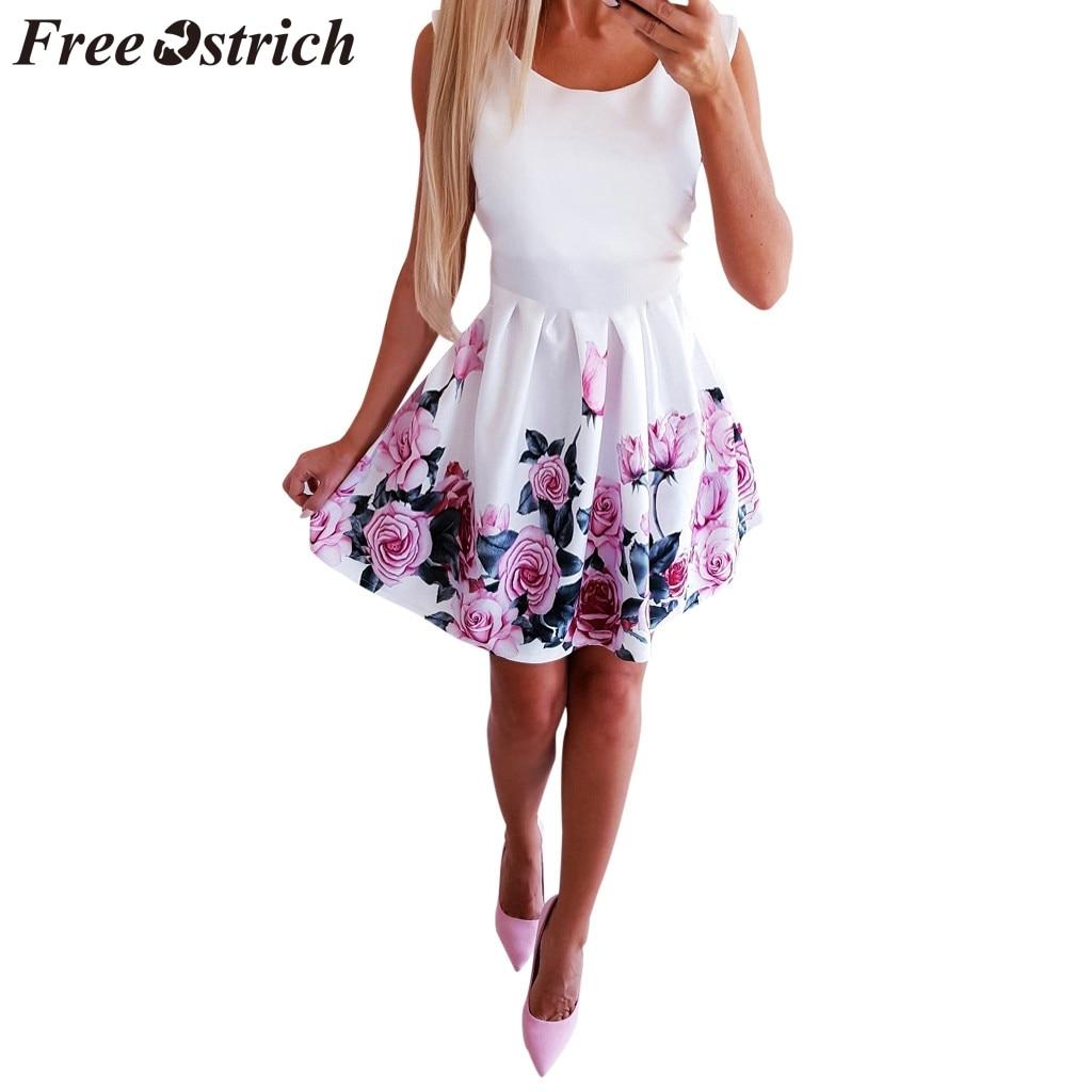 FREE OSTRICH-Vestido corto sexi con cuello redondo, prenda veraniega sin mangas con estampado de rosas y cuello redondo, para mujer