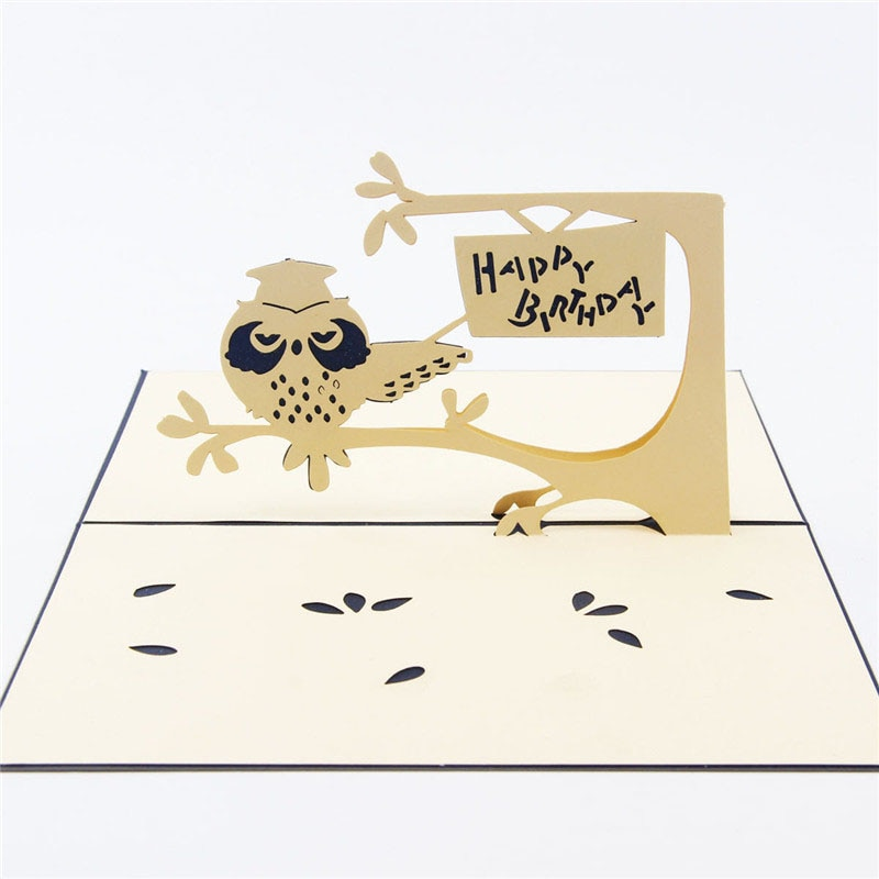3D лазерная резка, ручная работа, милая сова в дереве, бумага, пригласительные открытки, открытка для детей, день рождения, вечеринка, креатив...