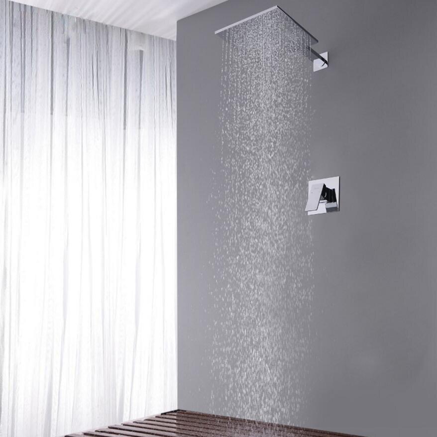 حنفية دش مطلية بالكروم مثبتة على الحائط ، مجموعة صنبور حمام على الطراز الأوروبي ، رأس دش مربع كبير ، خلاط حمام
