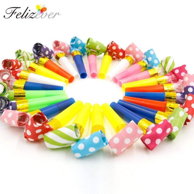 24 Uds pequeño Multi Color matasuegras para fiestas silbatos niños suministros de fiesta de cumpleaños decoración Noicemaker bolsas Piñata