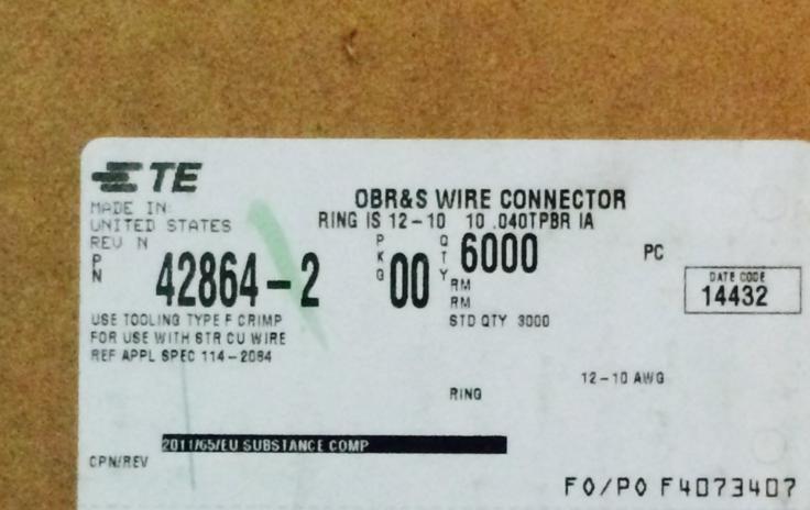 42864 2 terminal de terminais de terminais tyco te amp conectores terminais 100 de