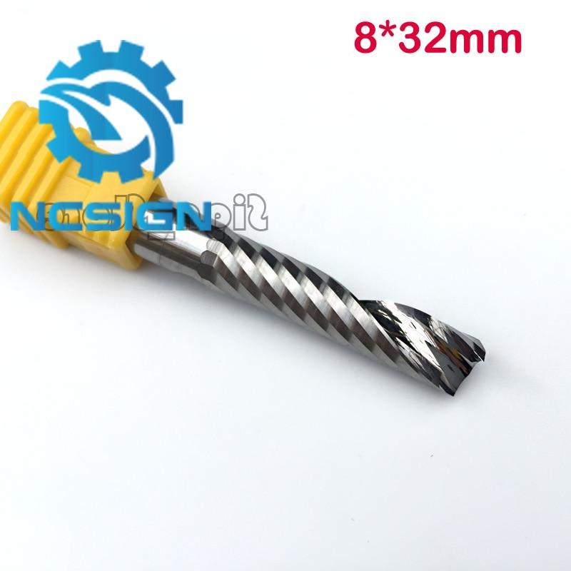 AAA Grade 8mm SHK 32mm CEL Hartmetall CNC Router Bits einem Flöten Winden Fräser Einzelnen Flöten Fräsen cutter Spirale PVC Cutter