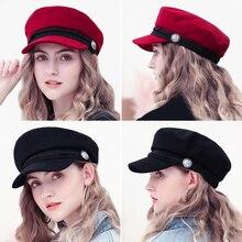 Boina de invierno, gorra Octagonal para mujer, gorra de lana con botón, gorra de béisbol, gorra informal para mujer, ropa de calle, gorro para niño, Gorras