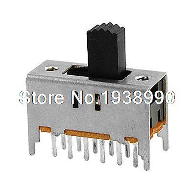 10 piezas 12 Pin/2 Posición 4P2T 4PDT Mini Vertical interruptor deslizante 0.3A 50 V DC