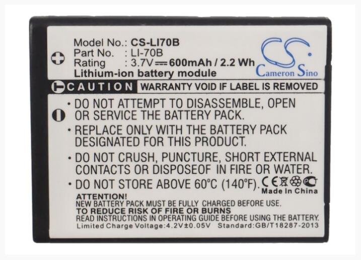 Cameron Sino 600 mAh bateria para OLYMPUS FE-4020 FE-4040 VG-110 VG-120 VG-130 VG-140 X-940 Li-70B Bateria Da Câmera