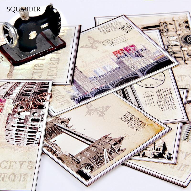 Открытки SQUMIDER 9 шт., 4 шаблона, Мультяшные европейские классические открытки, открытки на Рождество, подарок на День учителя