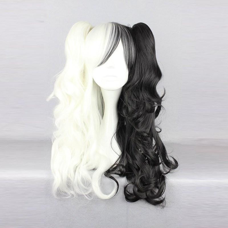 Danganronpa Monokuma Women Long Ponytails Curly Wig Cosplay Costume Dangan Ronpa White Black Mix Synthetic Hair Party Wigs