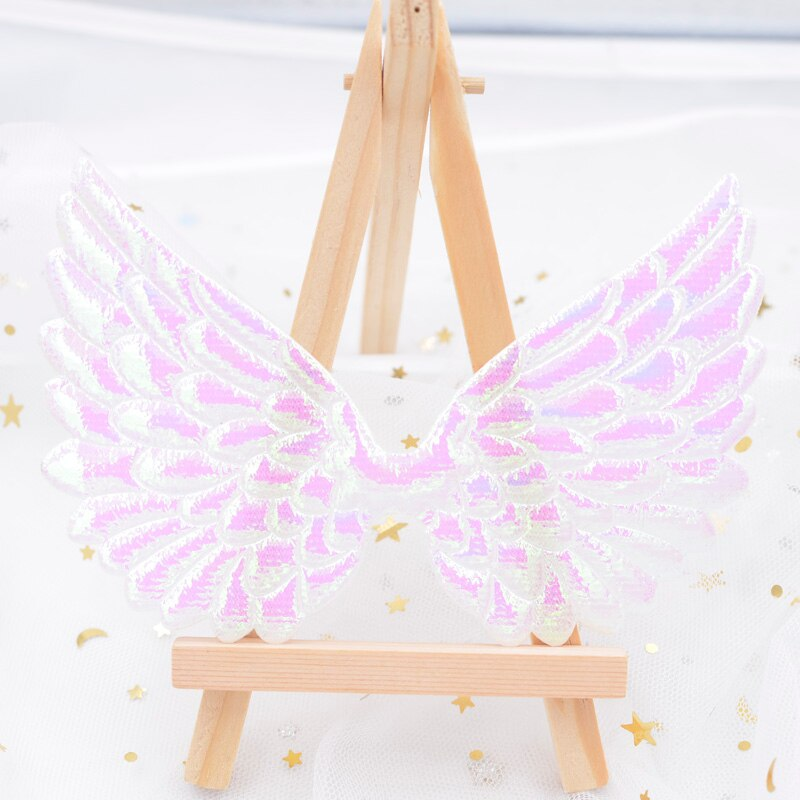 20 piezas 13CM Glitter AB ala blanca de Ángel apliques de doble cara iridiscente ala de Cupido ala hadas parches para adorno de lazo de pelo D00