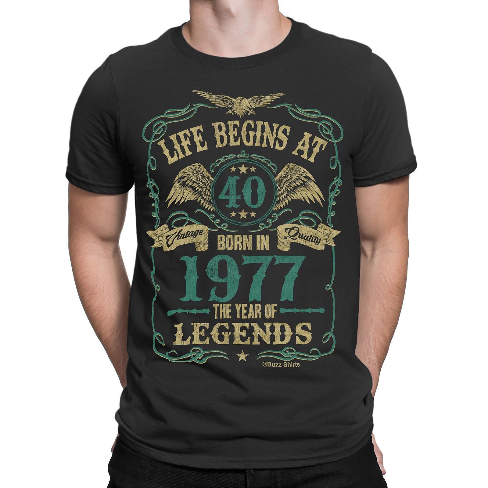 2019 moda estilo de verão vida começa em 40 homens camiseta nascido em 1977 ano de lendas 40th aniversário 2017 camiseta