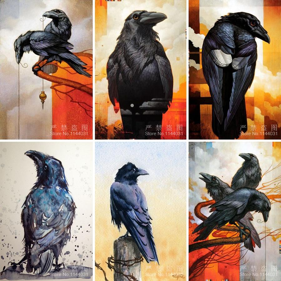 Raven 5D Diy Алмазная картина, вышивка крестиком, декор для комнаты, ручная работа, Алмазная мозаика, вышивка ворона, стразы, животные