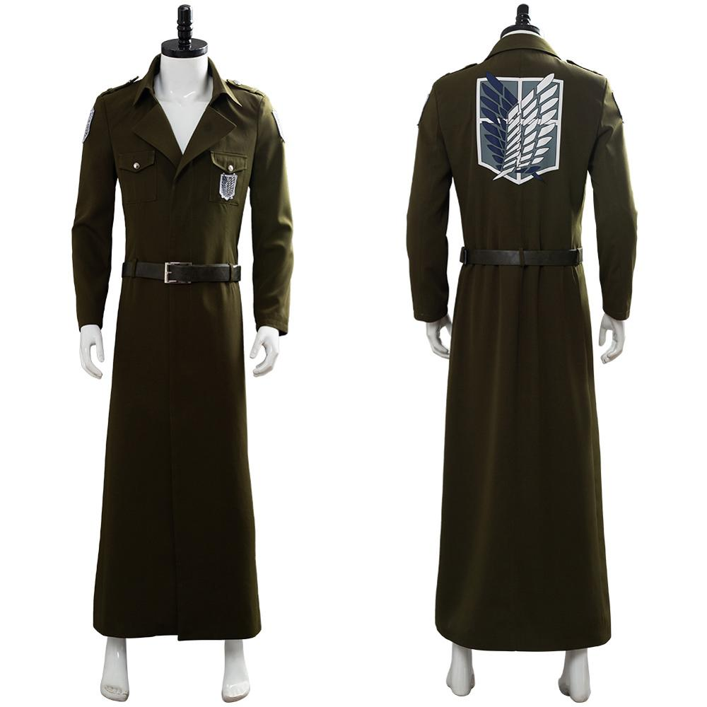 Attack on Titan Cosplay Costume Scouting Legion Soldier Officer Trench Coat Full Set Halloween Carnival Costume