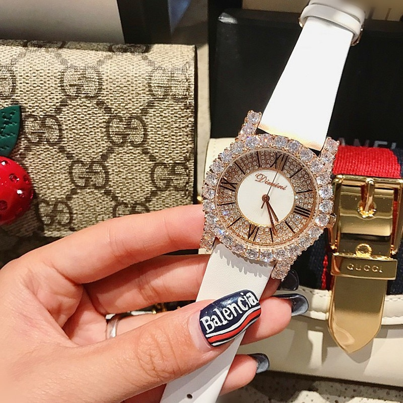 Hot Sale Rose Gold Diamond Lady Watch Woman New Dress Watches New Luxury Leather Strap Women Quartz Watches Clock reloj mujer enlarge