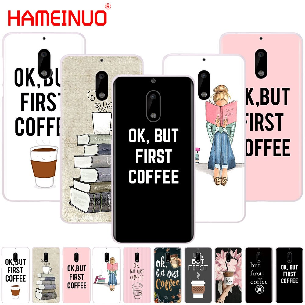 HAMEINUO Ok But First Coffee Book cover phone case for Nokia 9 8 7 6 5 3 Lumia 640 640XL 2018