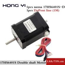 Kostenloser versand hybrid schrittmotor nema 17 motor 60mm (1,7 A, 0,73 NM, 60mm, 4-draht) 17HS6401S für 3D drucker cnc