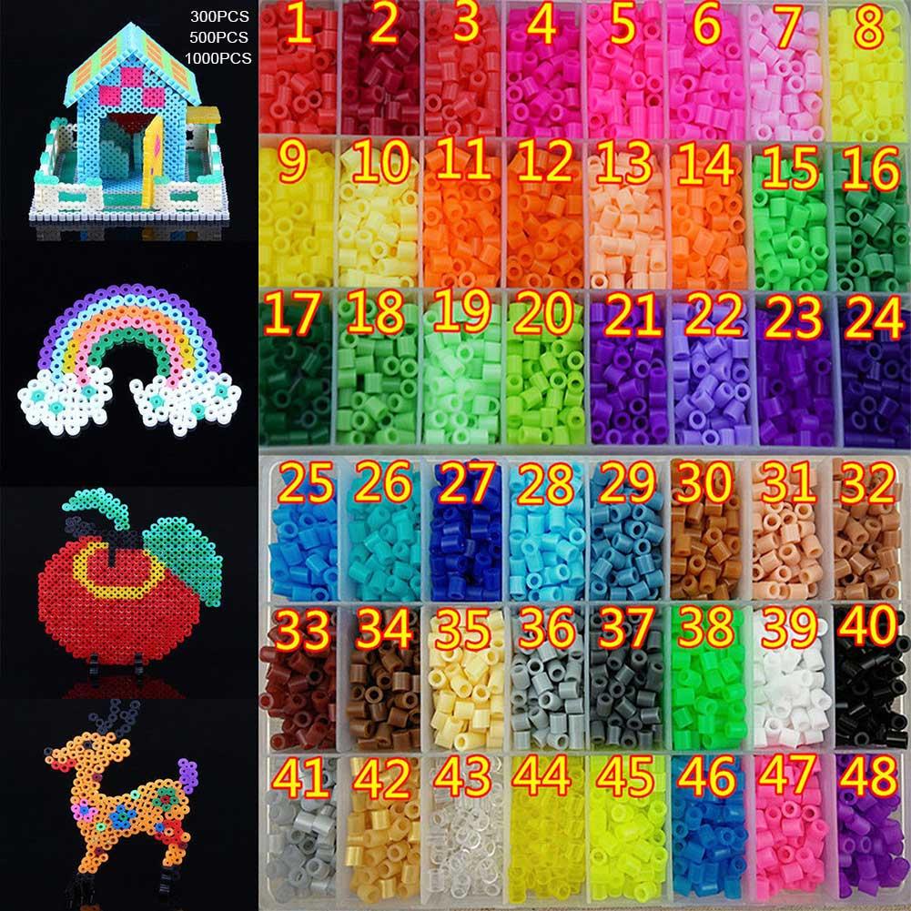 300/500/1000Pcs 5mm Hama/Perler Beads Plastic Toy Child Fun Craft DIY Handmaking Fuse Bead Kids Educational Toys Gift AN