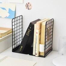 Serre-livres en métal à grille créative organisateur de bureau étagère étudiants porte-livre école bureau papeterie
