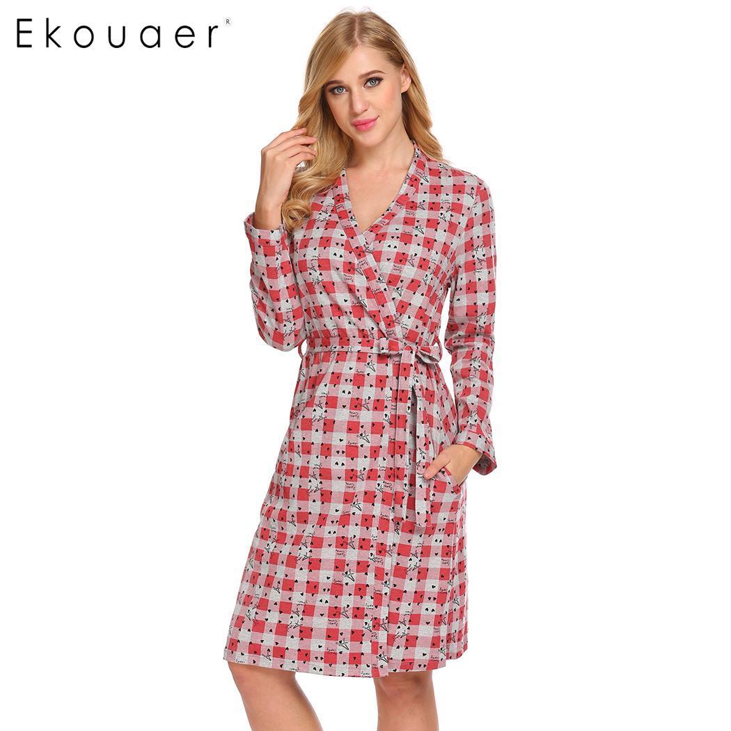 Ekouaer mulheres algodão sleepwear primavera outono robe quimono roupão xadrez estampado manga longa vestido feminino loungewear