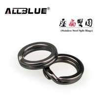 ALLBLUE 60Pcs/lot New Arrival Classic Black Nickel Color Stainless Steel Split Ring Fishing Connector Fish Hooks Fishing Lures