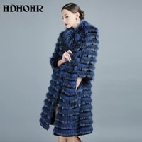 hdhohr new 100 real silver fox fur coat winter high quality genuine fox fur coats for women 100cm long style fur coats