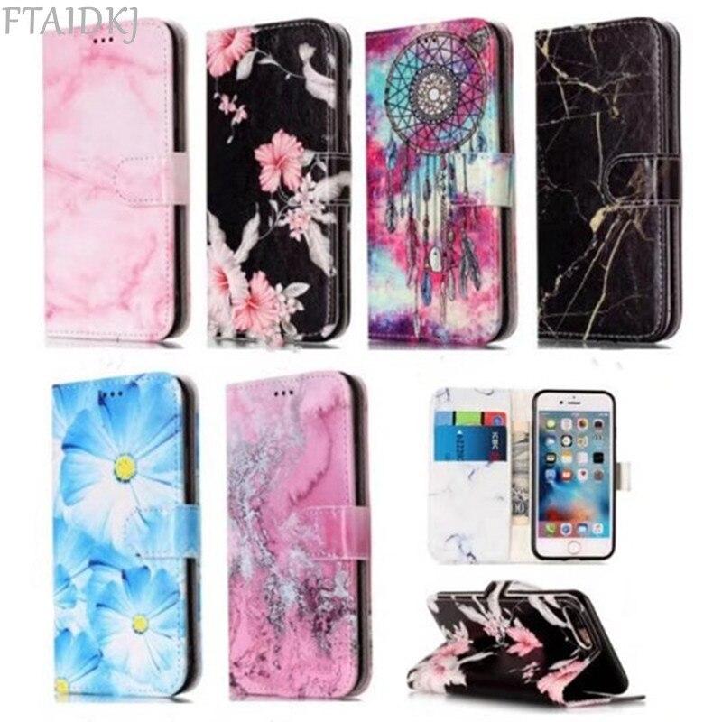 Модный женский кошелек флип-чехол для телефона из искусственной кожи для iPhone X XS Max XR 6 6S 7 8 Plus 5S SE мраморный цветок слот для карт карман чехол