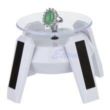 Energia solar 360 graus de jóias rotativa display suporte placa mesa volta