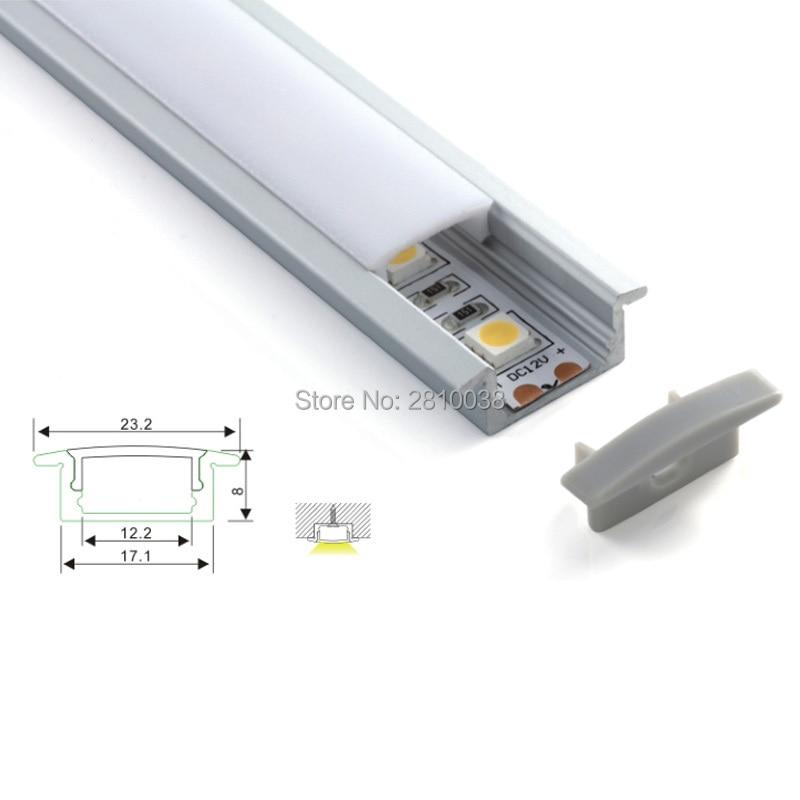 Juegos/lote de 500x1M de Luz lineal, perfil led de aluminio y canal T led delgado de 8mm para iluminación de suelo o de suelo