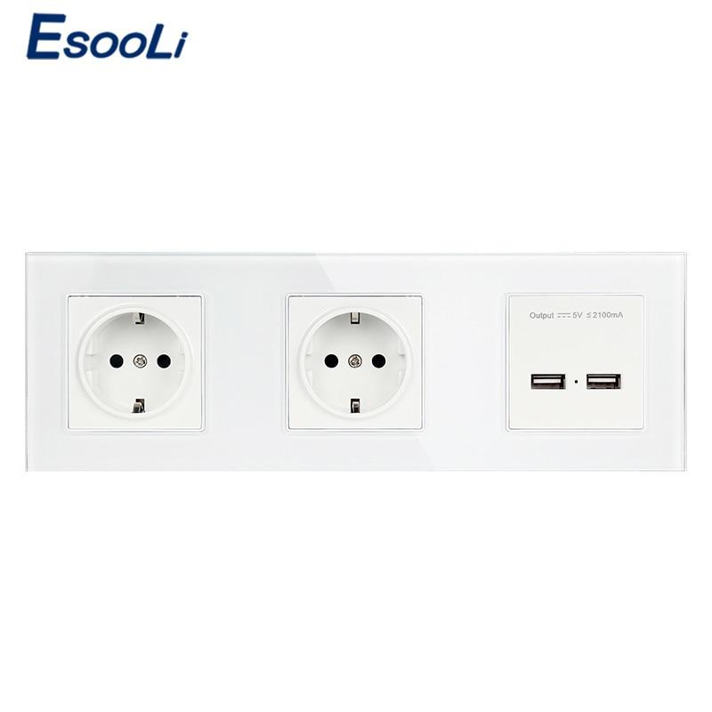 Esooli-مقبس حائط زجاجي ، منفذ شحن USB مزدوج ، خرج 5 فولت 2 أمبير ، قابس الاتحاد الأوروبي ، أبيض