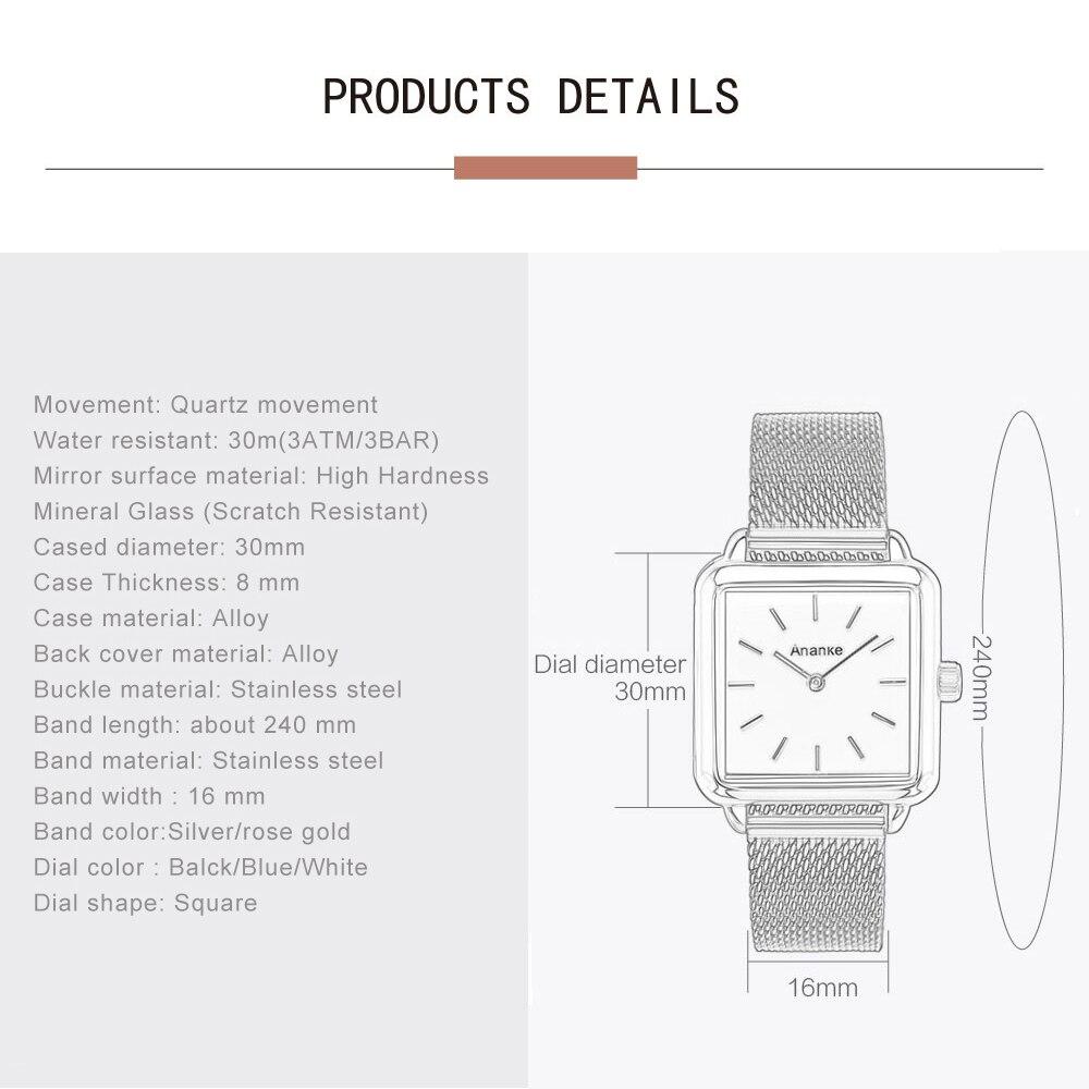 ANANKE Women Rose Gold Square Watches Ladies Waterproof Stainless Steel Dress Watch Female Simple Slim Quartz Analog Timepiece enlarge