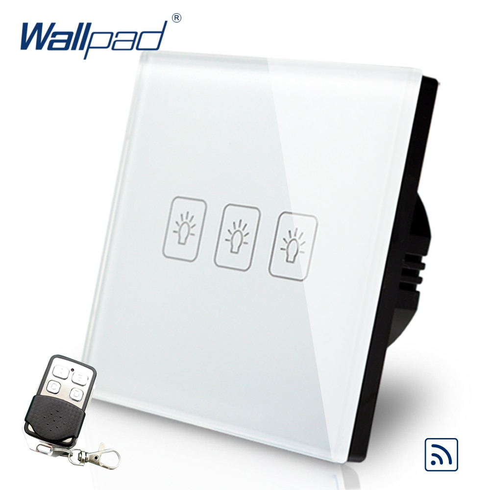 3 gang dimmer interruptor de toque controle remoto wallpad luxo branco cristal vidro interruptor parede com controle remoto 433.92 mhz