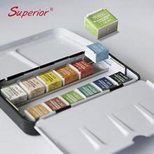 Superieure 12/24/36/48 Kleuren Pigment Effen Aquarel Verf Set Met Penseel Aquarel Pigment Set Art levert