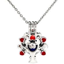 K1121 Silver Red Enamel Beauty Tree Beads Cage Pendant Stainless Necklace Aroma Essential Oil Diffus