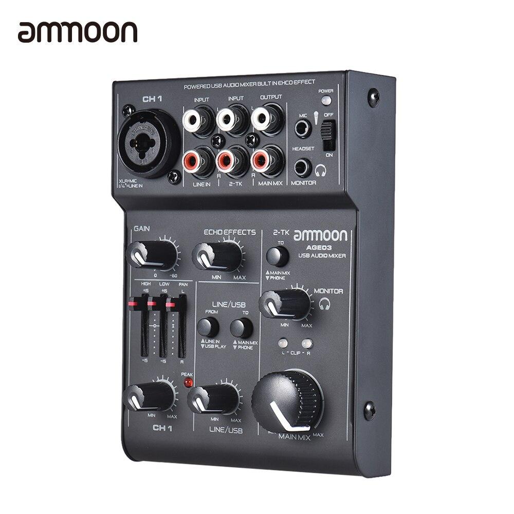 Ammoon AGE03 5-канальный Mic-Line микшерный консольный микшер с usb-аудиоинтерфейсом встроенный эхо-эффект питание от USB для записи