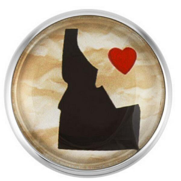 Idaho State botón de presión de cristal botones amuletos cierre Snap ajuste 18mm Snap DIY pulseras/Collar joyería 20 unids/lote