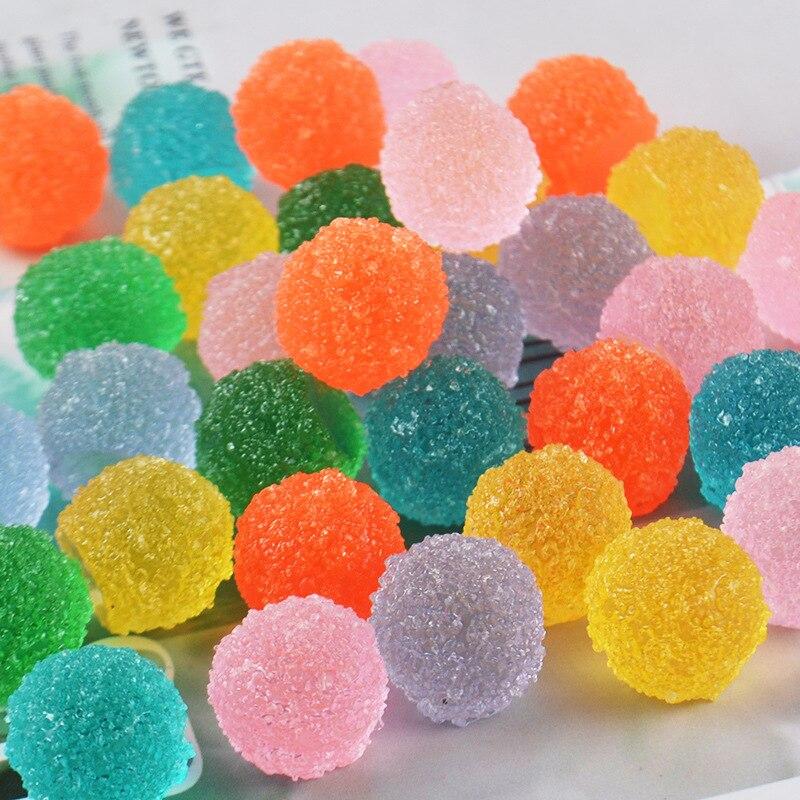 20 unids/lote de caramelos de azúcar de color jellyl de resina con parte posterior plana 15mm manualidades decorativas para bonsái para el hogar DIY