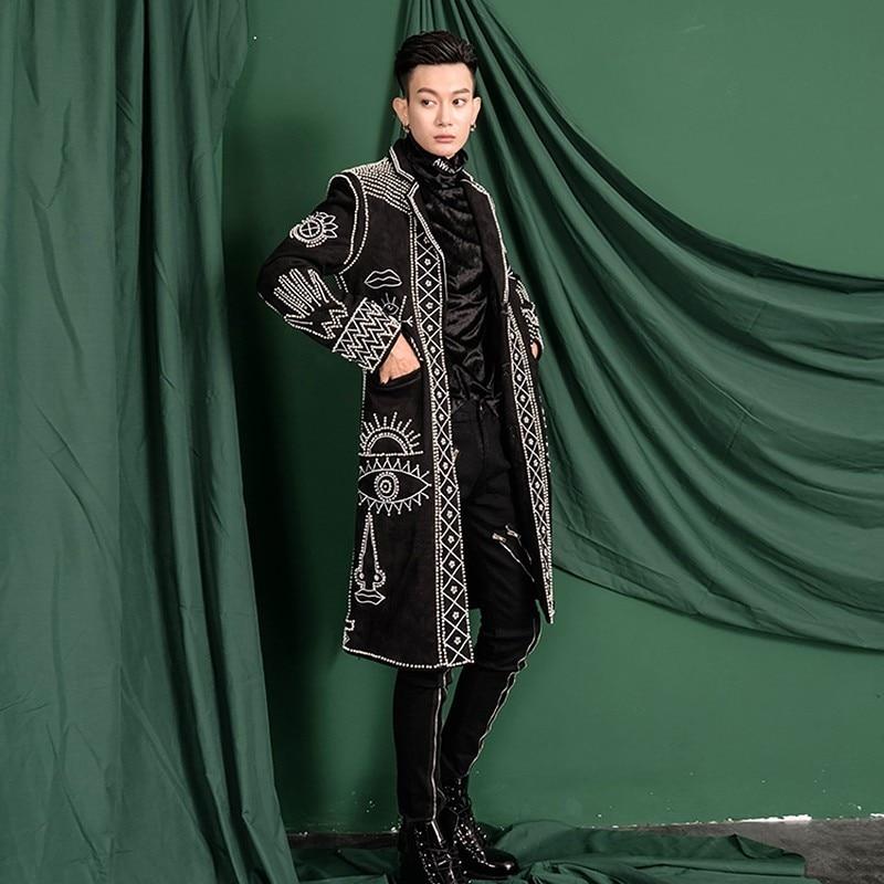 Dhl Gratis Verzending Echte Mannen Azië Size Zwart Barok Borduurwerk Kralen Event/Rood Tapijt/Sterren/Stage Performance /Studio/Dance/Club