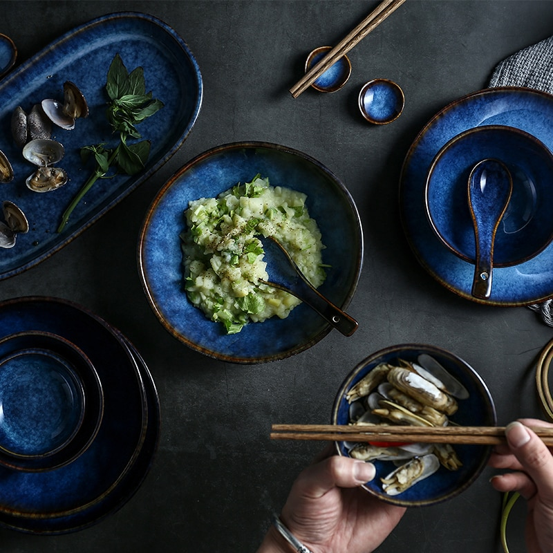 Juego de vajilla de cerámica azul profundo de 7 o 14 cabezas o 32 cabezas plato salsa plato vajilla de porcelana