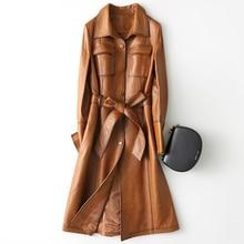 Genuine Leather Jacket Women 2019 Vintage Natural Sheepskin Coat with Belt Long Spring Autumn Trench Female Z1144