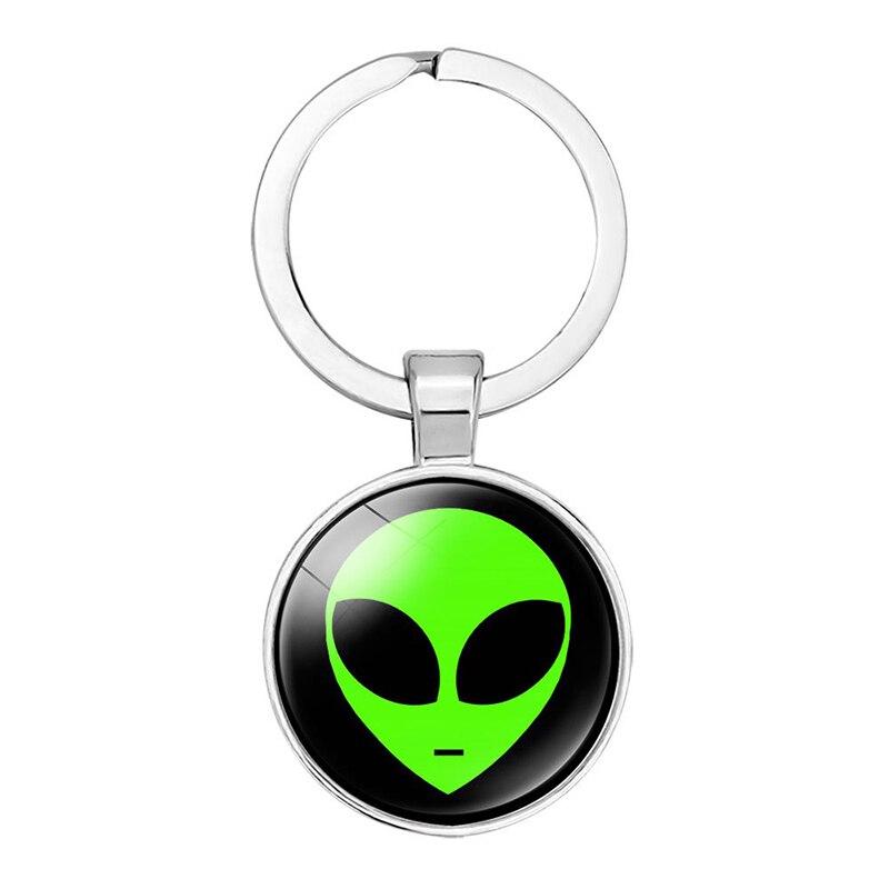 Llavero extraterrestre recuerdos cabujón de cristal llavero dibujos animados niño llavero colgante regalos