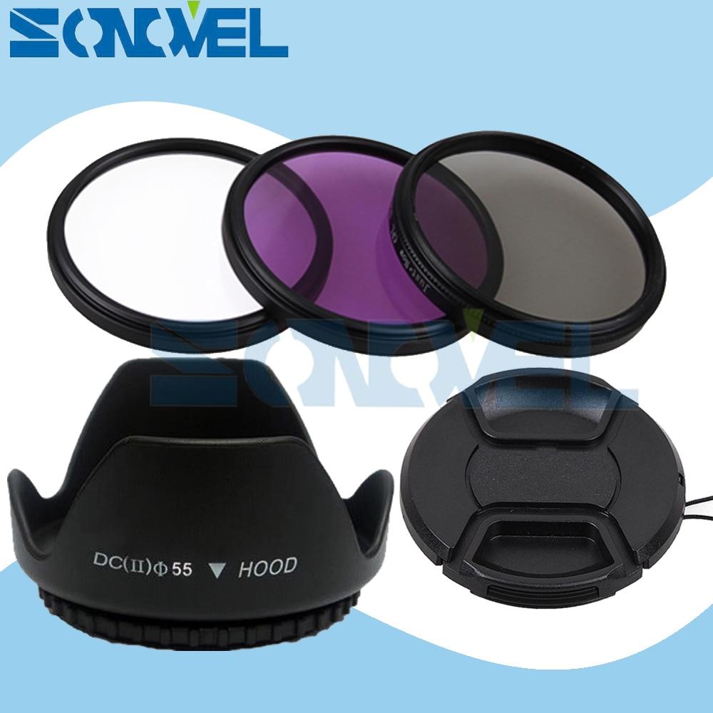 Набор фильтров для объектива UV CPL FLD 55 мм + крышка объектива + бленда для объектива с цветком для Nikon D5600 D5500 D5300 D5100 D3400 D7500 D750 с AF-P 18-55 мм